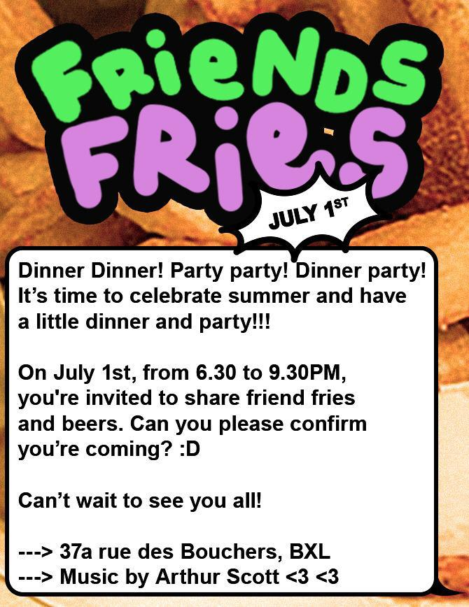 Visual for the event 'Friends & Fries' containing all the relative info