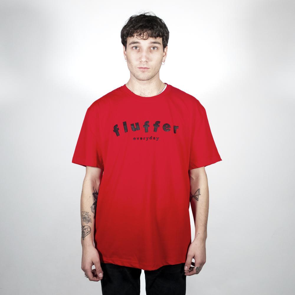 Model wearing a Fluffer t-shirt